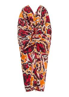Marni Printed Gathered Cotton Midi Dress