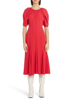 Marni Puff Sleeve Crepe Midi Dress