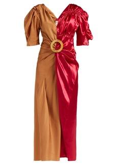 Marni Puff-sleeve two-tone midi dress