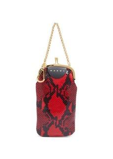 Marni Python-effect leather clutch bag