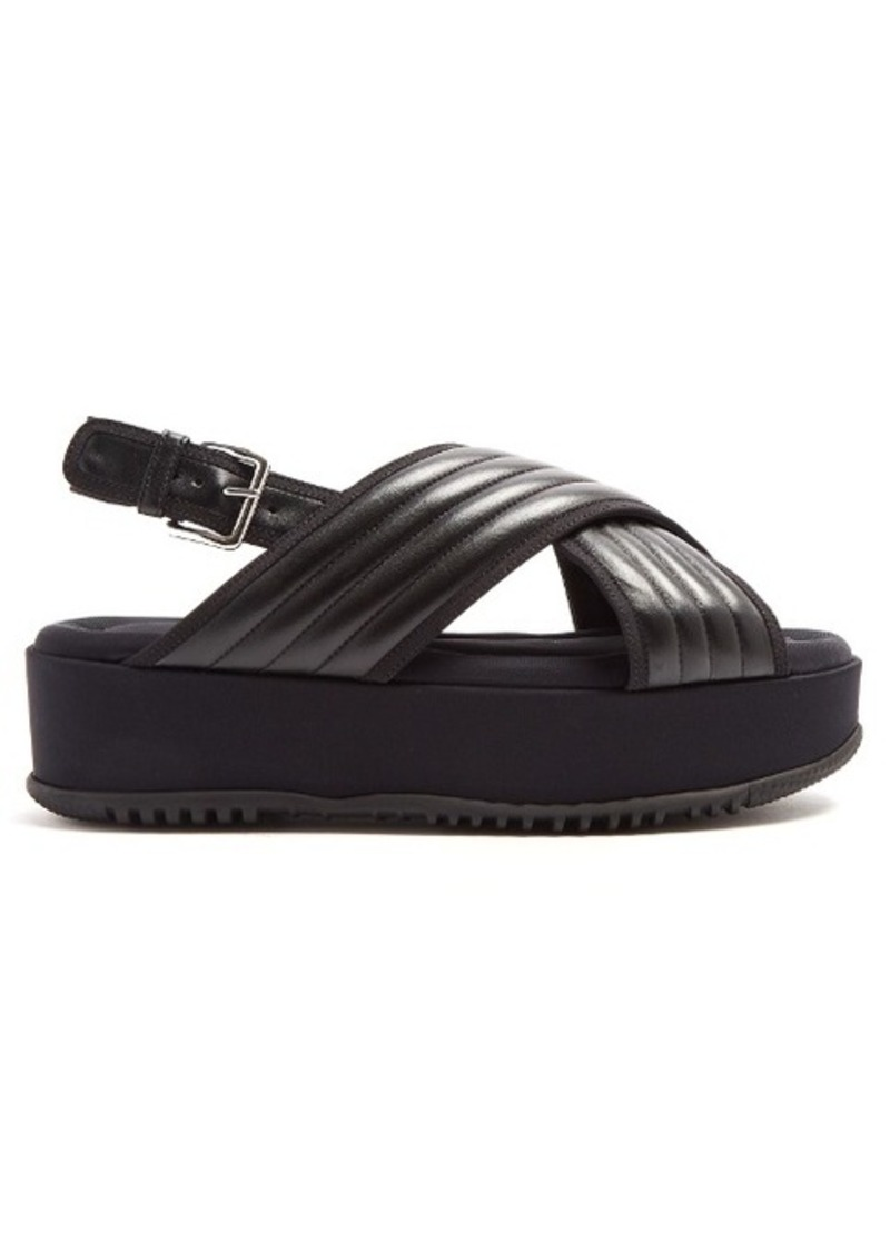 396d76ce08d3 Marni Marni Quilted-leather cross-strap flatform sandals