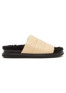 Marni Quilted-leather shearling-lined slides