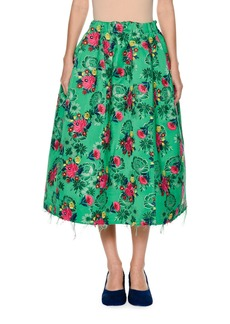 Marni Raw-Edge Floral Brocade Skirt