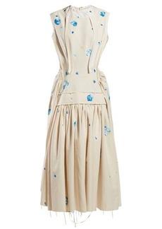 Marni Raw-edge floral-print cotton-blend dress