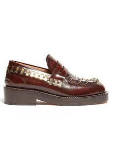 Marni Ring-embellished square-toe leather loafers