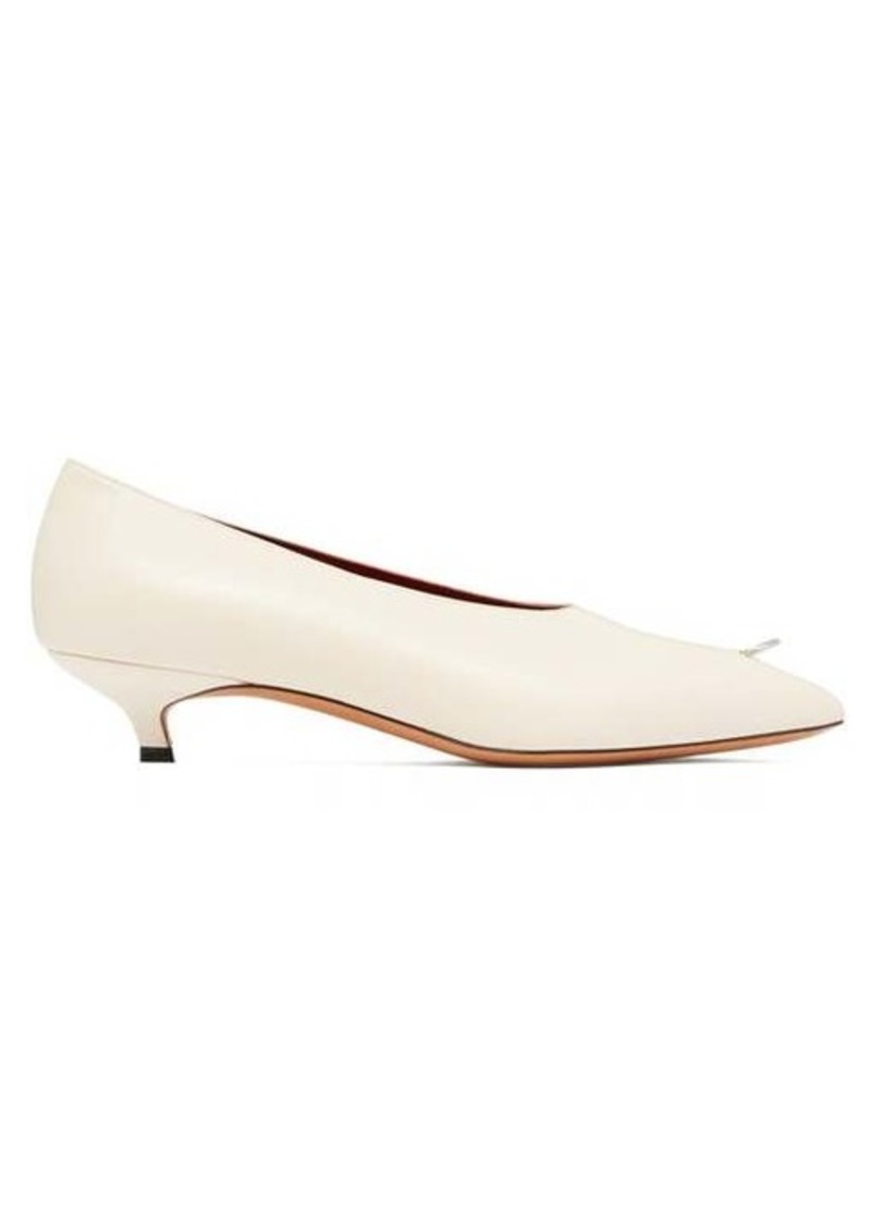 Marni Ring-pierced leather kitten-heel pumps