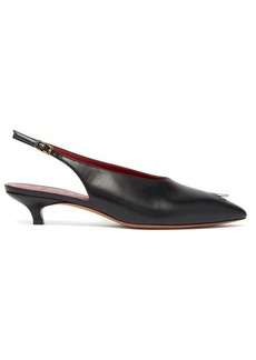 Marni Ring-pierced point-toe leather kitten heels