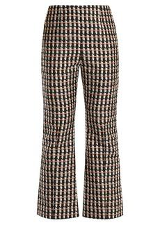 Marni Ripple-print kick-flare cotton-blend trousers
