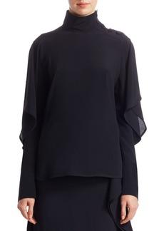Marni Ruffle Sleeve Button-Detail High-Neck Blouse