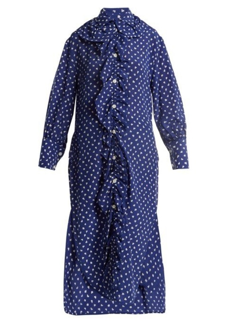 Marni Ruffled-placket fleck-print silk shirtdress