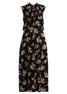 Marni Rustle-print ruffle-trimmed silk dress
