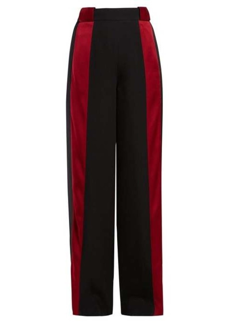 Marni Satin-stripe high-rise crepe trousers