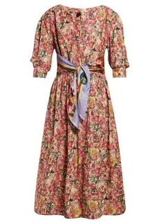Marni Scarf-belt floral-print crepe dress