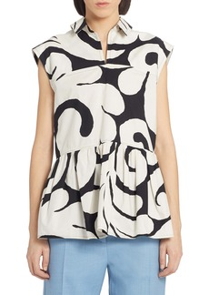 Marni Scribble Print Gathered Top