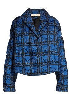 Marni Shawl-collar padded geometric-jacquard jacket