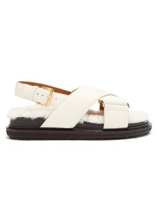 Marni Shearling-footbed leather sandals