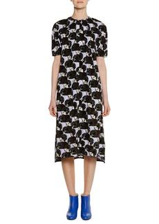 Marni Short-Sleeve A-Line Printed Midi Dress w/ Pleating