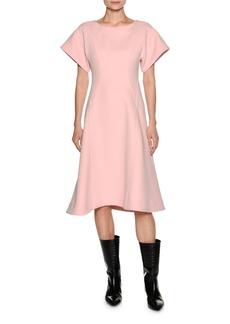 Marni Short-Sleeve Crepe A-Line Swing Dress