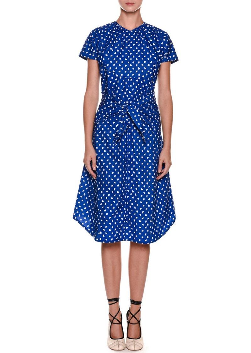 b26a1f6918a6 Marni Short-Sleeve Dot-Print Tie-Waist Cotton Poplin Dress | Dresses