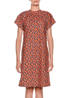 Marni Short-Sleeve Floral-Print Cotton Dress