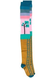 Marni over the knee graphic print socks