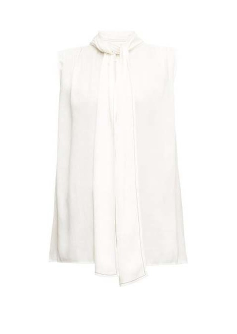 Marni Sleeveless pussy-bow satin blouse