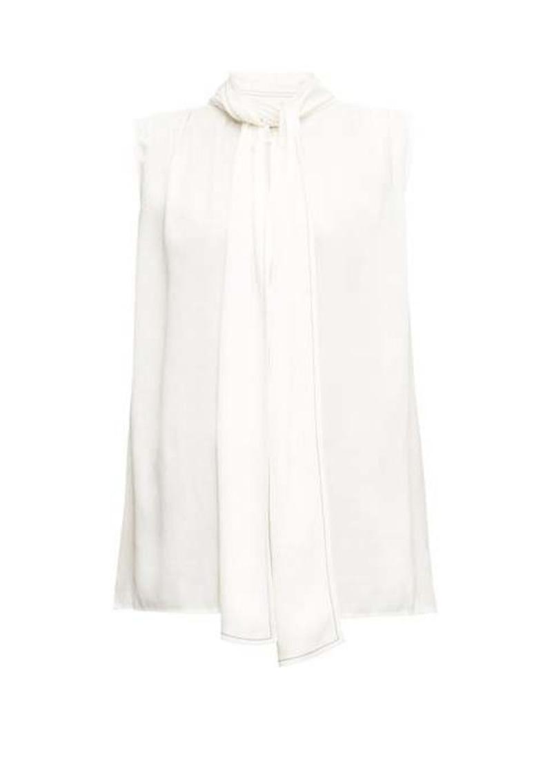 Marni Sleeveless pussy-bow satin blouse