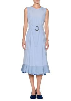 Marni Sleeveless Washed Crepe Silk Ankle Midi Dress