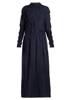 Marni Smocked long-sleeved maxi dress
