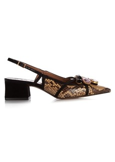 Marni Snakeskin crystal-embellished pumps