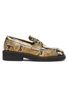 Marni Square-toe python-effect leather penny loafers