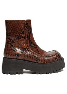 Marni Square-toe python-print leather ankle boots