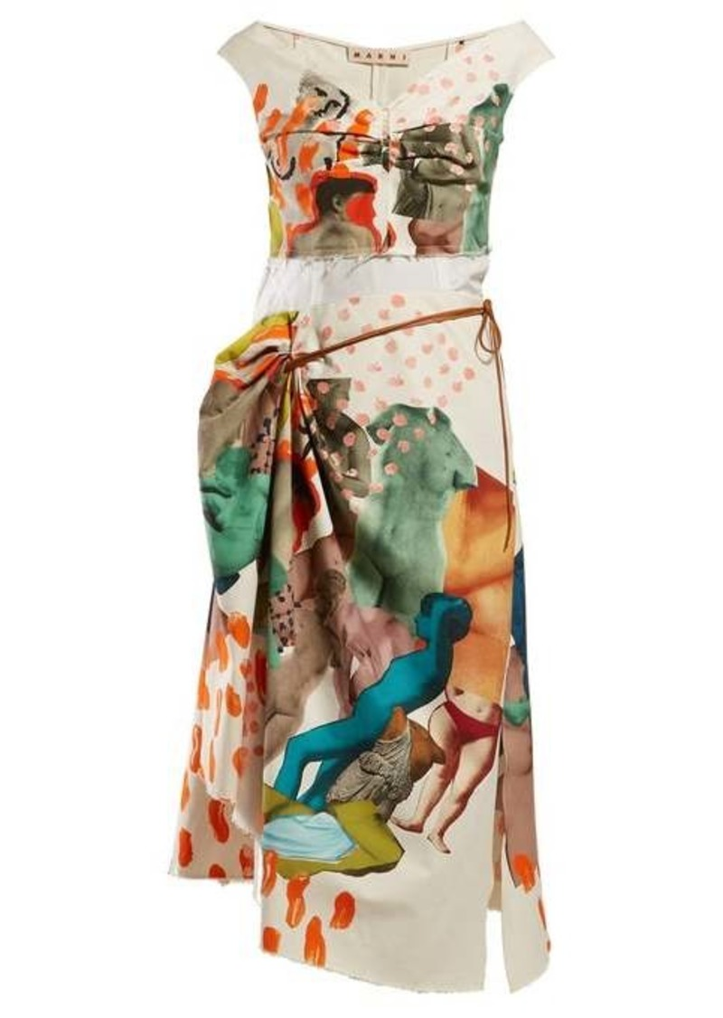 Marni Statue and brushstroke draped cotton-blend dress