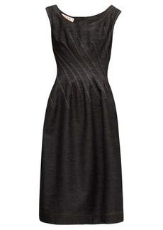 Marni Pintucked cotton-denim midi dress