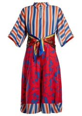 Marni Stripe and floral-print cotton-poplin midi dress