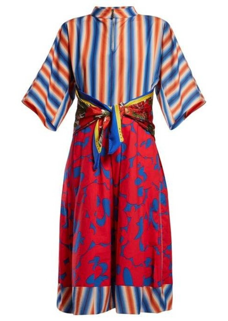 Marni Stripe and floral-print cotton-poplin midi dress