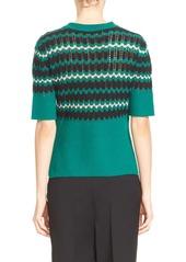 Marni Stripe Wool Blend Half Sleeve Crewneck Sweater
