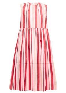Marni Striped cotton-poplin midi dress