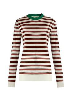 Marni Striped contrast-collar cashmere-blend sweater