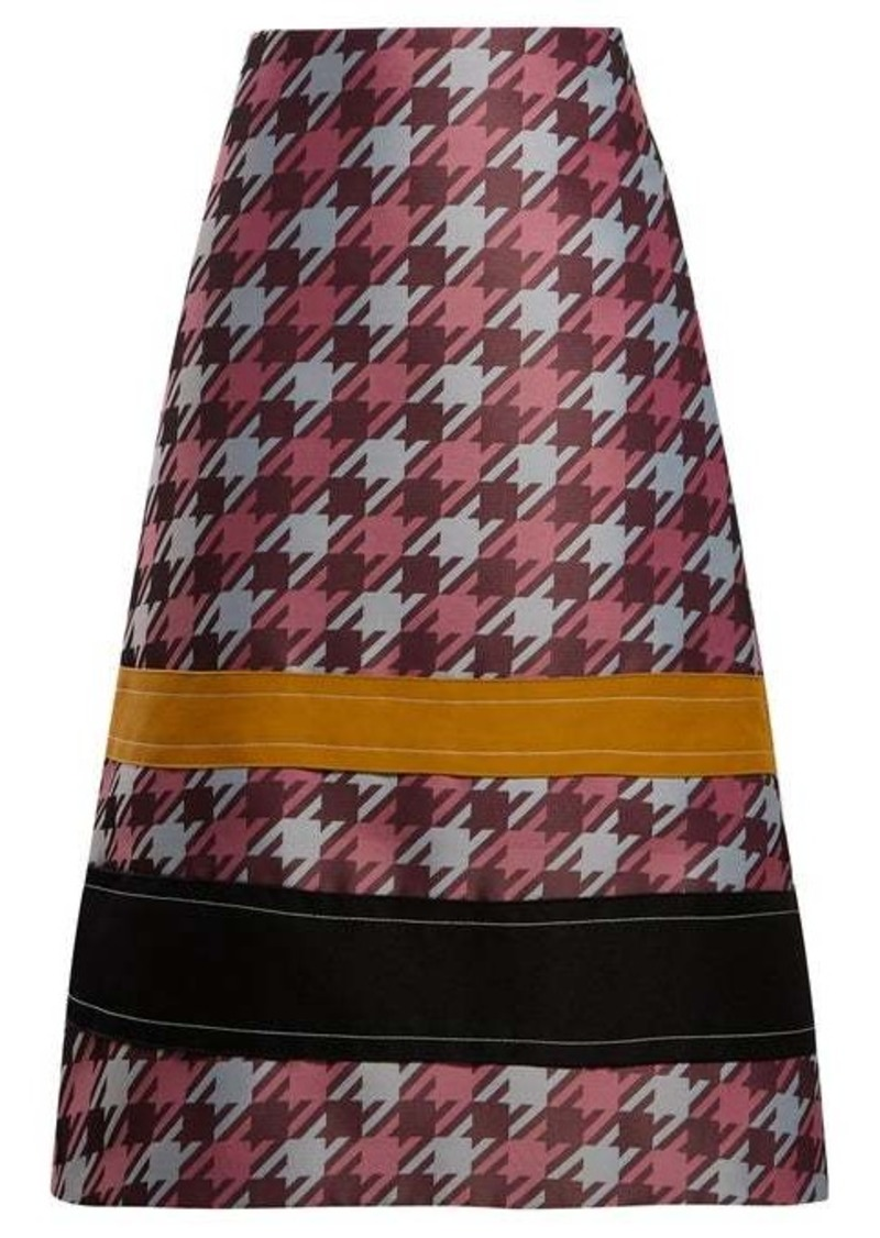 Marni Striped houndstooth-jacquard midi skirt