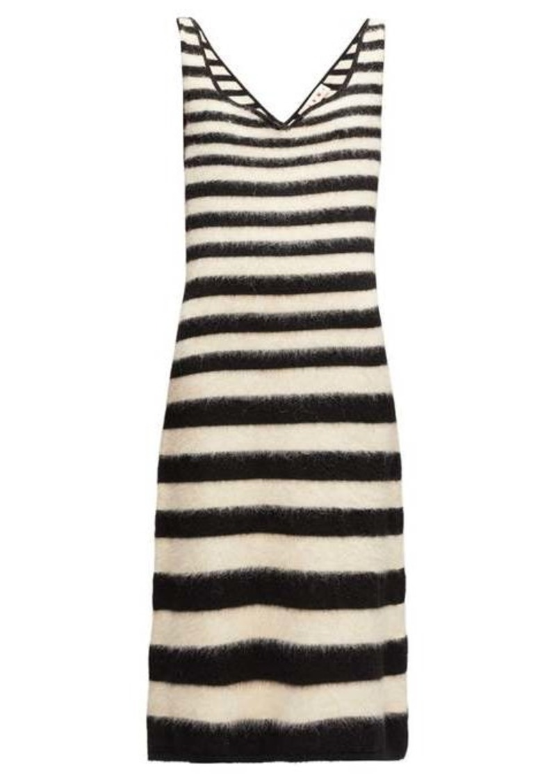 Marni Striped knitted wool-blend midi dress