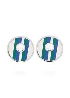 Marni Striped leather clip earrings