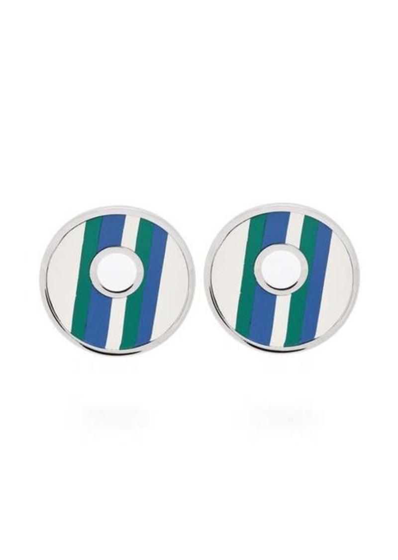 Marni Striped leather clip earrings