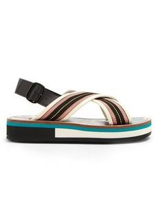 Marni Striped leather-trimmed slingback sandals