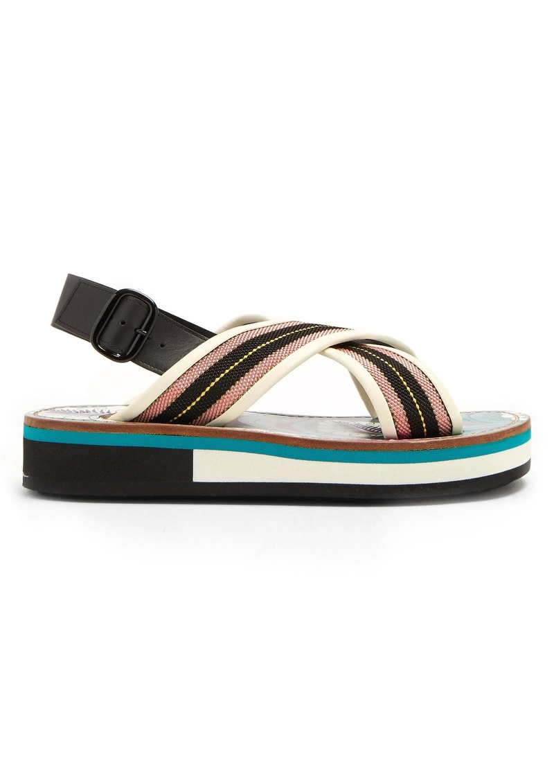 fdca1dcecb40 On Sale today! Marni Marni Striped leather-trimmed slingback sandals