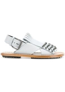 Marni studded fringed sandals - Blue