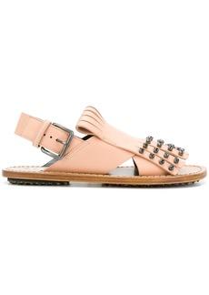 Marni studded fringed sandals - Pink & Purple