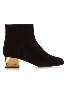 Marni Suede and gold block-heel ankle boots
