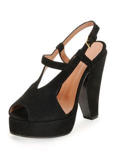 Marni Suede Curved-Heel Sandal