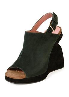 Marni Suede Curved-Wedge Slingback Sandal